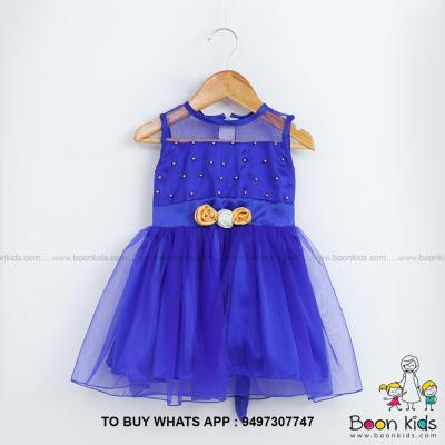 Blue frock with beeds  worck at Boon Kids in Kothamangalam