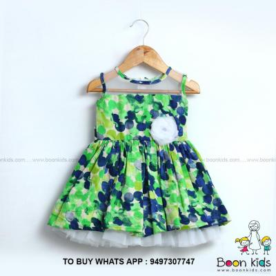 Green cotton frock at Boon Kids in Kothamangalam