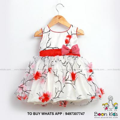 Organza print Red at Boon Kids in Kothamangalam