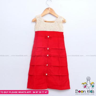 Red A-line frock at Boon Kids in Kothamangalam