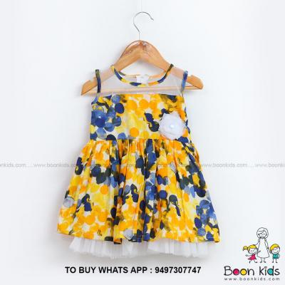 Yellow cotton frock at Boon Kids in Kothamangalam