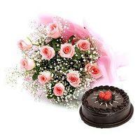 10 Pink Roses Bunch with Half KG Chocolate Cake at Online Cake Surat in Surat
