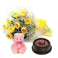 8 Yellow Roses Bunch & Small Beautiful Teddy Bear with Half KG Chocolate Cake at Online Cake Surat in Surat