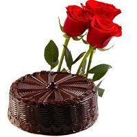 Truffle Chocolate cake Half KG with 3 Red Roses at Online Cake Surat in Surat