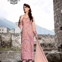 Baby Pink Pure Pashmina woven embroidered suit with shawl at Universal Apparels in Chandigarh