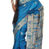 Azure Awe, Baluchari at Parinita Online Saree Store in Kolkata