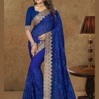 BLUE EMBROIDERED GEORGETTE SAREE at Indian Treasures Boutique in Chandigarh