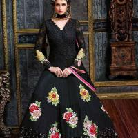 MORE VIEWS STUNNING BLACK EMBROIDERED GEORGETTE ANARKALI SUIT at Indian Treasures Boutique in Chandigarh
