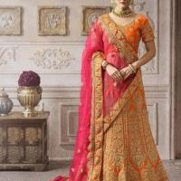 ORANGE & PINK EMBROIDERED WEDDING LEHENGA CHOLI at Indian Treasures Boutique in Chandigarh