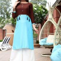 STYLISH BLUE & BROWN RAYON READY TO WEAR KURTI at Indian Treasures Boutique in Chandigarh