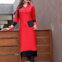 STYLISH RED HEAVY RAYON READY TO WEAR KURTI at Indian Treasures Boutique in Chandigarh